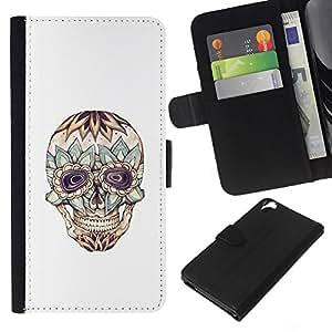 KLONGSHOP // Tirón de la caja Cartera de cuero con ranuras para tarjetas - Floral Cráneo loco Muerte de tinta del tatuaje - HTC Desire 820 //