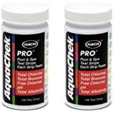 2) Aquachek 511710 Pro Swimming Pool Spa 5 in 1 Test Kit Strips 5-Way 100 pack