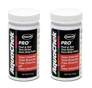 2 aquachek 511710 pro swimming pool spa 5 in 1 test kit strips 5 way 100 pack for Swimming pool test kits amazon
