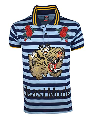 Urban T-shirt Designs - SCREENSHOTBRAND-S11865 Hip-Hop Premium Tees - Stylish High Density Roaring Tiger Rubber Print Rose Embroidery Polo -Navy-Large