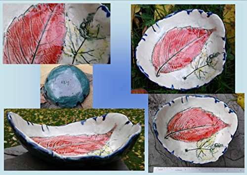 Ash and Maple Leaf Dish Ceramic Bowl Spoon Rest Red Yellow Leaf Rustic Pottery Plate Candy Dish Ring ()