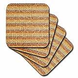 3dRose cst_59940_3 Bohemian Floral Stripes-Earthy Colors-Orange and Blue-Hippie-Fashion-Ceramic Tile Coasters, Set of 4