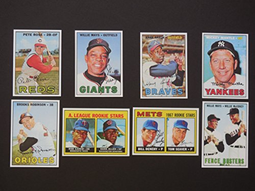 1967 Topps Baseball Reprint (8) Card Lot with Original Backs (Willie Mays) (Mickey Mantle) (Hank Aaron) (Pete Rose) (Brooks Robinson) (Tom Seaver Rookie) (Rod Carew Rookie) (Mays-McCovey Combo Card) ()