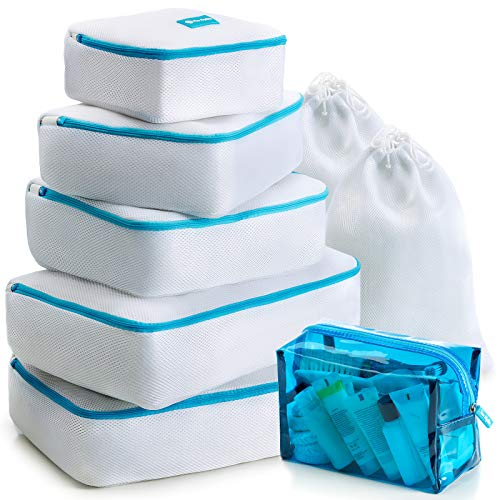 Free Packing - Packing Cubes for Travel Set of 8 Pieces Practical Laundry Cubes Small Medium & Large Luggage Compression Packing Cube set Ultralight Suitcase Packing Cubes Organizers