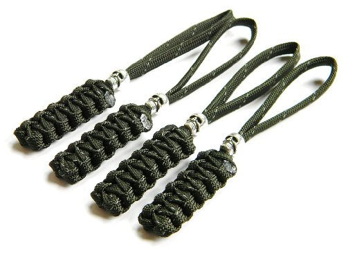 4 Reflective Olive Drab Paracord Zipper Pulls or Knife Lanyards With Skull Alloy Bead