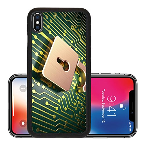 Att Snap - Liili Premium Apple iPhone X Aluminum Backplate Bumper Snap Case Security concept circuit board with Opened Padlock icon 3d render Photo 17549336