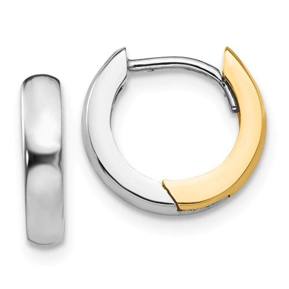 Two Tone 14K Gold Turkish Hinged Huggie Hoop Earrings .50 In (12mm) (3mm Wide)