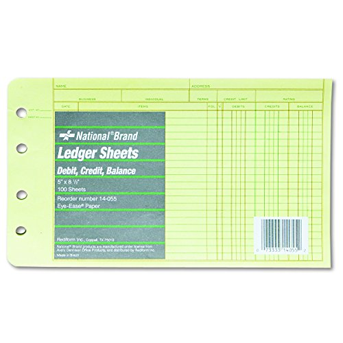 rediform extra sheets for 4 ring ledger binder 5 x 85 inches 100 per pack 14 055