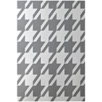 E by design RGN164GY2-23 Houndstooth Geometric Print Indoor/Outdoor Rug, Classic Gray