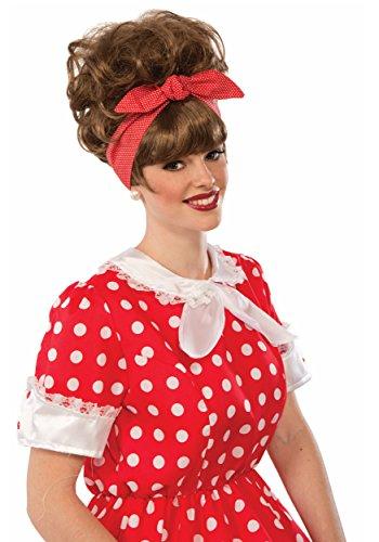 Forum Novelties, Womens Brown 50's Diner Waitress Dottie Jean Wig Costume ()