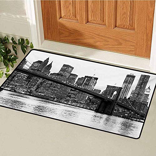 GUUVOR Modern Welcome Door mat Brooklyn Bridge Sunset with Manhattan American New York City Famous Town Image Door mat is odorless and Durable W29.5 x L39.4 Inch Black and White ()