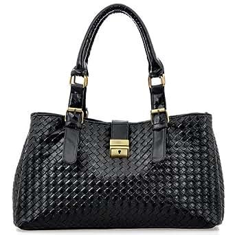 REVI Black Embossed Woven Office Tote Shopper Hobo Shoulder Bag Satchel Handbag