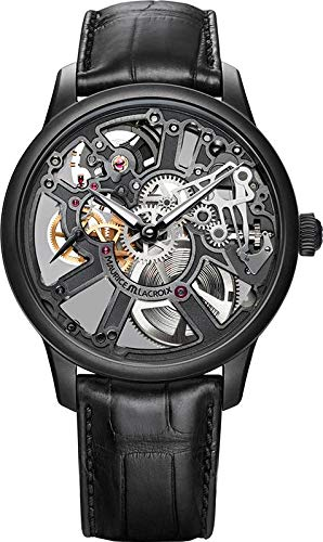- Maurice Lacroix Masterpiece Skeleton 43mm Watch | Black/Black