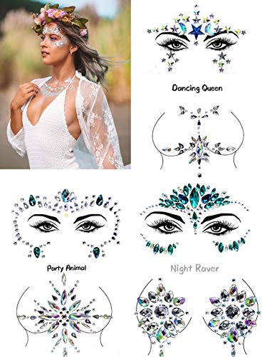 6 Sets Face Gem Face Jewels Breast Body Jewels Rhinestone Diamond Crystal Stone Mermaid Stickers for Music Festival Rave Party Clubbing Performance Outfit Makeup