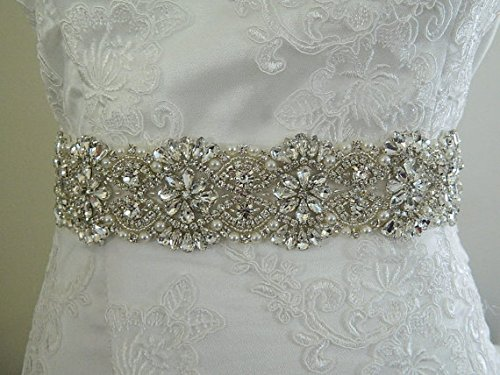 ShiDianYi Bridal Sash Belt Rhinestones and Pearl Sash Wedding Sash Bridal Belt Crystal Bridal Sash Applique 10 Packs Silver RA310~190621J ()
