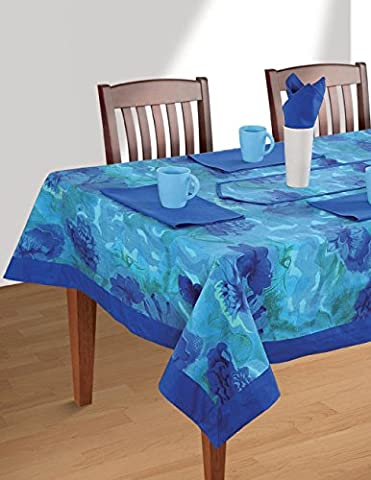 Colorful Multicolor Cotton Spring Floral Tablecloths For Dinning Tables 60 X 60 Inches, Blue (4 Pezzo Stampato Inserire)