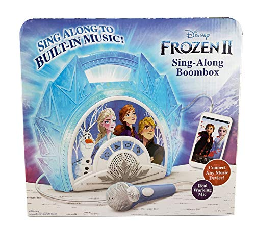 51DuvKRxZCL - Frozen 2 Sing Along Boombox with Microphone, Built in Music, Flashing Lights, Real Working Mic for Kids Karaoke Machine, Connects Mp3 Player Aux in Audio Device
