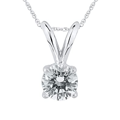 e5a4c02e894bf AGS Certified 1/3 Carat Round Diamond Solitaire Pendant in 14K White Gold