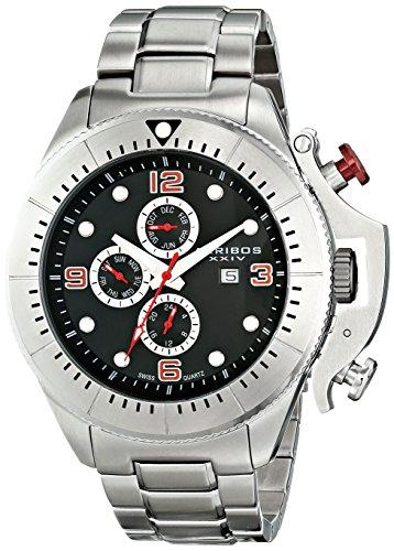 Akribos XXIV Men's AK724SSB Multifunction Swiss Quartz Movement Watch with Black Dial and Stainless Steel Bracelet
