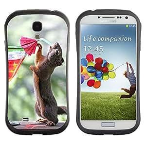 Hybrid Anti-Shock Bumper Case for Samsung Galaxy S4 / Squirrel Drinking