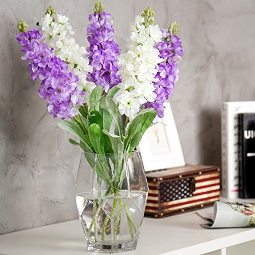 MyGift 8-Inch Geometric Clear Glass Flower Vase, Wedding Centerpiece Decor - Geo Glass Vase