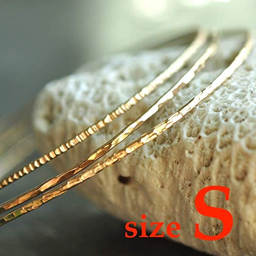 (14k gold filled hammered skinny Stacking Bangles set of 3 - size SMALL)