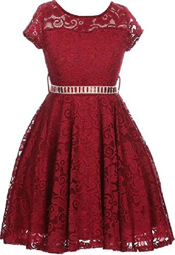 Big Girl Cap Sleeve Lace Skater Stone Belt Flower Girls Dresses (19JK88S) Burgundy 10 ()