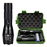 Super Bright Tactical Flashlight With Rechargeable Battery Charger, XML T6 LED 1000 High Lumen Zoomable Adjustable Focus (A100)