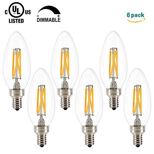 Grozon LED Chandelier Bulb, 3.5W Dimmable (40W Equivalent), E12 Base Edison LED Bulb, 2700K, UL Listed, Blunt Tip, 6 Pack - 40w Blacklight Replacement Bulb