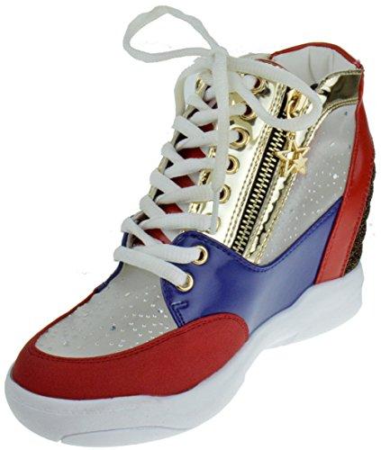 Maricela 55 Lace Ups Zippers Rhinestone Wedge Sneakers Red