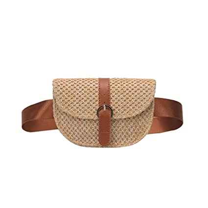 537bcab6e8865a Amazon.com | Clearance Womens Straw Waist Bag Chest Belt Shoulder Pack  Adjustable Strap Crossbody Pocket Running Sports Travel Pouch (Brown, ...