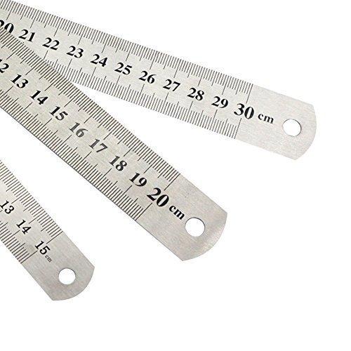15/cm 20/cm 30/cm 3/x righello in acciaio metallo righello con tabella di conversione righello strumento di misurazione