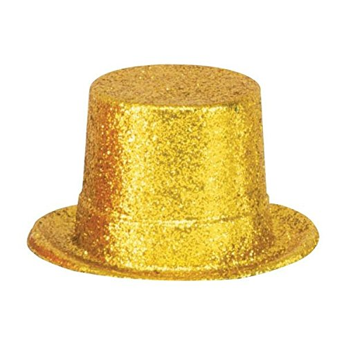 Hat Top Accessory (Glamorous 20's Old Hollywood Themed Party Glitter Top Hat Accessories, Gold, Plastic , 5