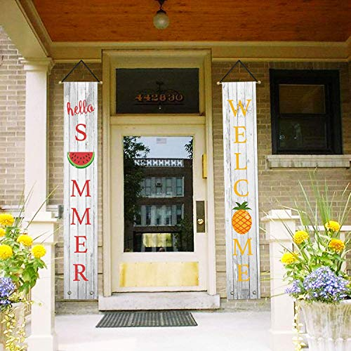 (AVOIN Hello Summer Hanging Banner Flag Welcome Quote Pineapple Watermelon, Seasonal Porch Sign for Yard Indoor Outdoor Party 12 x 72 Inch)
