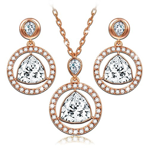 Ladies Swarovski Crystal Set (LadyColour Eternal Light Rose Gold Jewelry Set Necklace Earrings Set Swarovski Crystals Women Jewelry Valentines Day Gifts for Her wedding jewelry sets for brides bridesmaids Birthday Gifts for Women)
