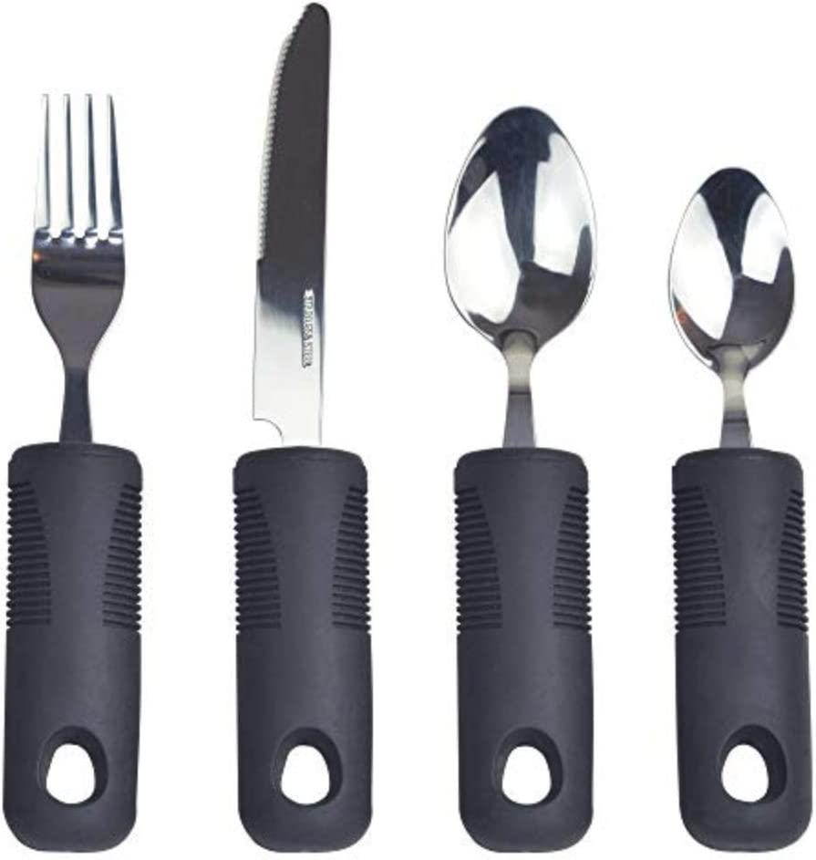 4 Pieces Soft Comfort Easy Grip Cutlery Set Arthritis Disability UK Eating Aid