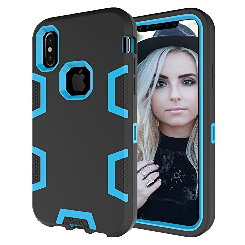 iPhone X Case, NOKEA [Heavy Duty] 3 in 1 Shock Absorbing Hard PC+Soft Silicone Hybrid Rubber Combo Armor Hard Case Cover for Apple iPhone X (Black Blue) (Iphone 4 Hybrid 3 Piece Case)