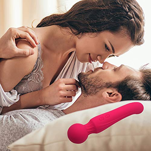 Flysea Wand Massager Waterproof Rechargeable Electric Wireless Portable Handheld Personal Massager for Back Neck Shoulder Legs Massage Women Couple Stress Relief (Red)
