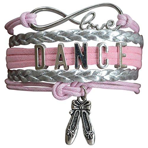 Infinity Collection Dance Bracelet- Dance Jewelry - Pink Ballet Shoe Dance Bracelet for Dance Recitals ()