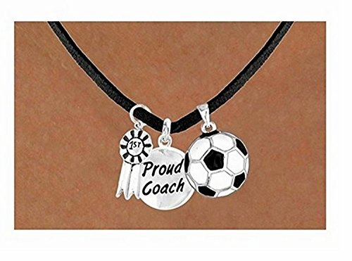''1st'' Ribbon & Proud Coach Soccer Ball Necklace by Lonestar Jewelry