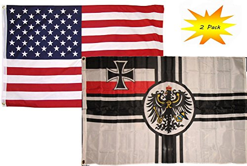 3x5 3'x5' Wholesale Set (2 Pack) USA American & German Imperial WWII Germany Country Flag Fade Resistant Double Stitched Premium Penant House Banner Grommets (Imperial 5 Position)