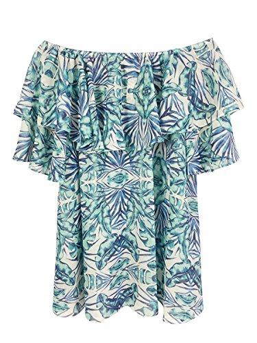 Donne Vestito Delle Blu Whoinshop Stampato Off Bikini Beachwear Shouler Floreale Coprire nYY0Rqfz