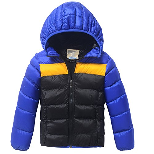 XiaoYouYu Big Boy's Casual Striped Cute Hooded Padded Outerwears Coats US Size 12 Royalblue