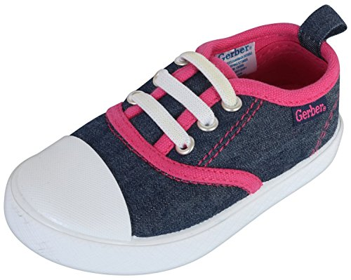 Gerber Baby Rubbersole Early Walker Slip On Sneakers (Infant/Toddler), Denim/Pink, 5 M US Toddler' by Gerber