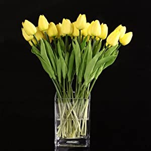 Tulip Flower - 10pcs Yellow Latex Real Touch Tulip Flower With Leaves Decorate - Artificial Lamps Pen Decor Delivery Hood With Soap Mold Seeds 46