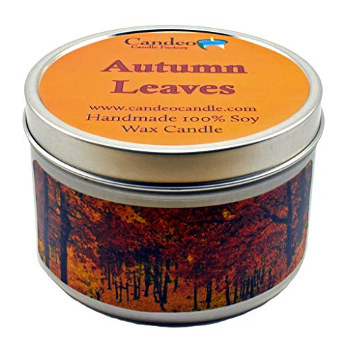 Fall Leaf Candles - Autumn Leaves, Fall Scented Soy Candle Tin (6 oz), Autumn Candles