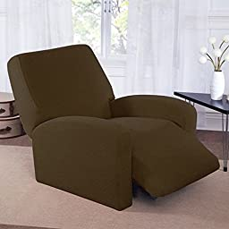 Four Piece Dark Sage Green Home Decor Slipcover For Recliner, Form Fitting Style Back Cover, Check Pattern, Two Arm Covers, Comfort To Your Living Space