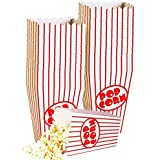 Small Movie Theater Small Popcorn Boxes - Paper Popcorn Boxes Striped Red and White - Great for movie night or movie party theme, theater themed decorations or Carnival party circus etc. (40 Boxes)