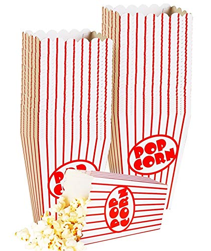 Small Movie Theater Small Popcorn Boxes - Paper Popcorn Boxes Striped Red and White - Great for movie night or movie party theme, theater themed decorations or Carnival party circus etc. (40 Boxes) ()