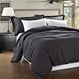 Simple&Opulence 100% Linen Stone Washed 3pcs Basic Style Solid Duvet Cover Set (King, Dark Grey)